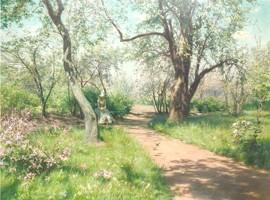 Den prisbelönta målningen Vår i trädgården från 1889, privat ägo