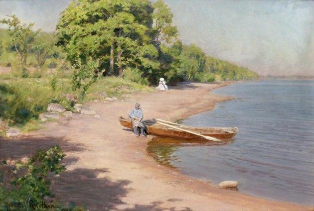 Roddbåt vid strand 1890, Bukowskis