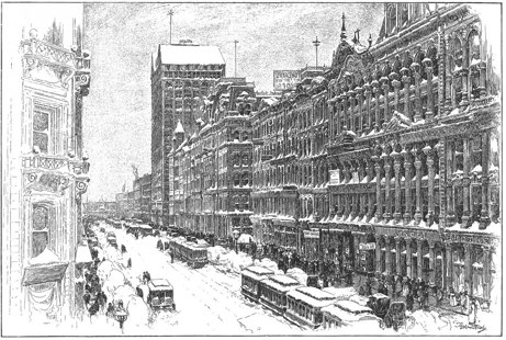 State Street, Chicago, efter snöstorm 1892. Frimurarnas skyskrapa en bit ner på gatan th.