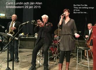 Carin och Jan i underbara But Not For Me.  Jan Norlén, tv, tenorsax och th Jan Bergnér, bas.