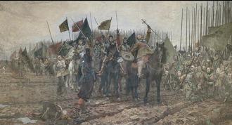 Gustav II Adolf före slaget vid Lutzen den 6e november 1632. Målning Nils Forsberg. Wikipedia
