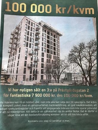 Notars annons i tidningen Vi i Sundbyberg 9-5 maj 2017. Fastigheten heter Arkaden och ligger där Prästgårdsgatan rinner ut på Ekensbergsvägen