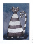 Sissi Saller Glad katt 40 x 30 Litografi