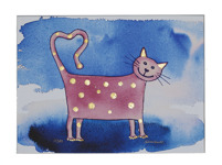 Sissi Saller Glad katt 50 x 40 Litografi