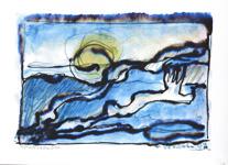 Milan Vobruba Gryning 40 x 30 akvarell