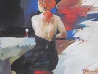 Olga Semenova Kvinna i svart klänning vid bar 53x37 Akryl på akvarellpapper