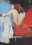 Olga Semenova Kvinna med röd rosett i baren 37x53 Akryl på akvarellpapper