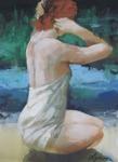 Olga Semenova Sittande kvinna i vit klänning 28x38 Akryl på akvarellpapper