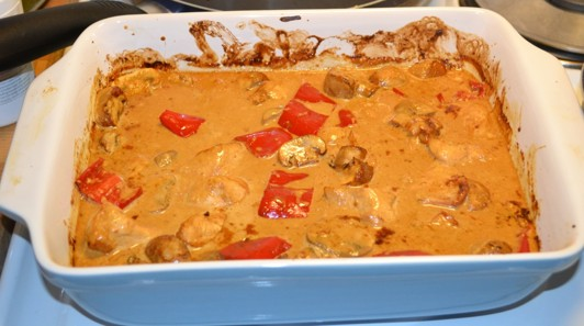 Kyckling, paprika, champinjoner i gräddig god sås