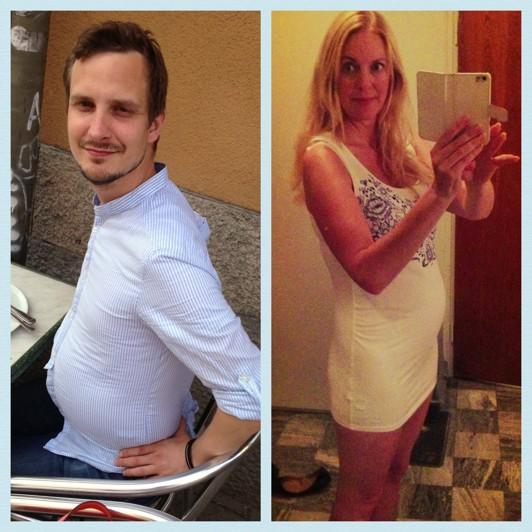 I magen till vänster pizza och cola, till höger bebis... :)