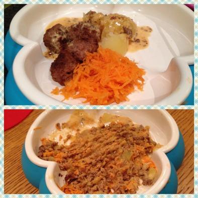 Köttbullar, gräddsås, rivna morötter och en liten potatisbit