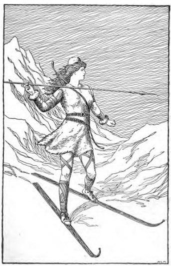 """""""Skade jagar i bergen"""" av H.L.M. (1901) BILD: Wikipedia Commons"""