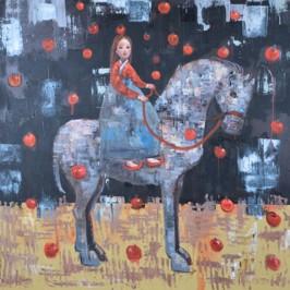 Falling Apple, 2012, oil on canvas, 122 x 122 cm (Sold)