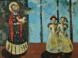Saint and Angeles,  2012, oil on canvas, 102 x 76 cm (Sold)