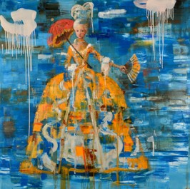 Madam in fortune dress, 2011, oil on canvas, 122 x 122cm  (Sold)