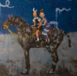 Sisters of Moon and Stars, 2013, oil on canvas, 102 x 102 cm