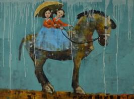 Ride in the rain, 2012, oil on canvas, 102 x 76 cm (Sold)
