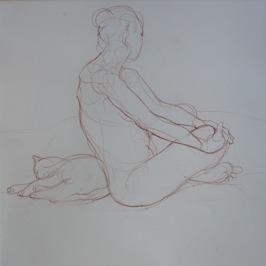 Maud et Poupette 3, 2014, Red iron-oxide crayon on Lana paper, 50 x 50 cm