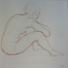 Maud, 2014, Red iron-oxide crayon on Lana paper, 50x50 cm
