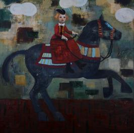 Utopian Jump, oil on canvas, 102 x 102 cm, 2015
