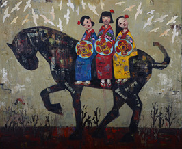 Journey of Three Sisters, oil on canvas, 102 x 122 cm, 2015. (Sold)