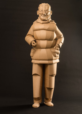 Shaoxing Woman with Vest , life-sized, cardboard and glue, 2014