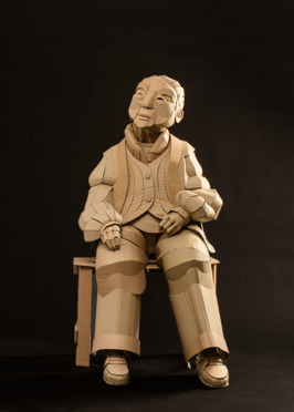 Shaoxing Woman Seated, life-sized, cardboard and glue, 2013, SOLD