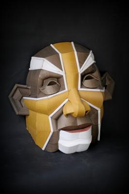 Yellow Hero, 75 x 75  x 45 cm, cardboard, glue and ink, 2014