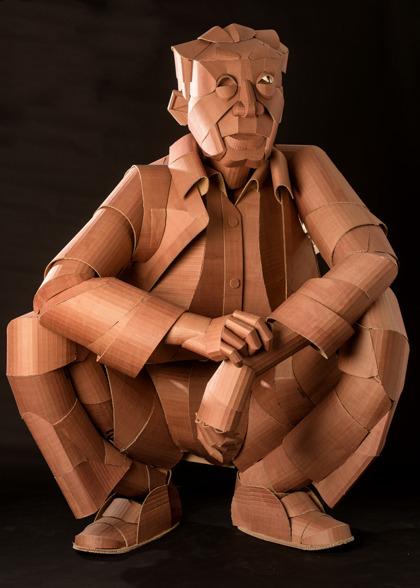 Squatting Man, 180 x 140 x 120 cm, cardboard, glue and ink, 2015, SOLD