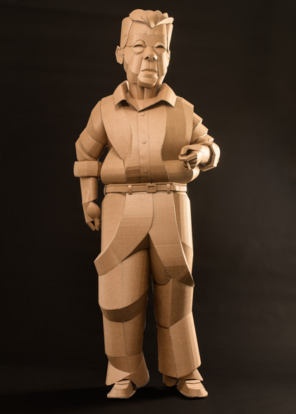 Shaoxing Man Smoking, life-sized, cardboard and glue, 2014, SOLD