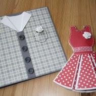 Födelsedagskort, skjort och klänning, gjort på Kuligt i Laholm