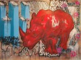 Red rhino. 229 x 170 cm. Oil+spraypaint on canvas. Anders Kumlien co-op w streetartist Oskar Palmbäck 2009.