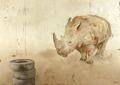 Black Rhino. 100 x 140 cm oil on canvas. Anders Kumlien 2006