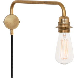 Edison Vägglampa Råmässing -