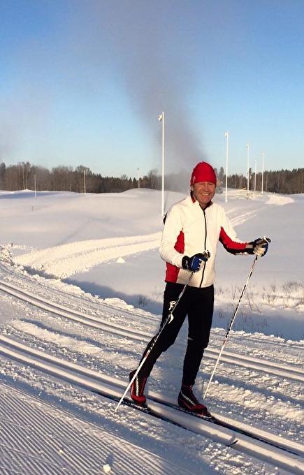Leif  på sina längdskidor, då var han som lyckligast!