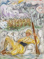 En målning av Nils Dardel av Ivan i skyttegraven