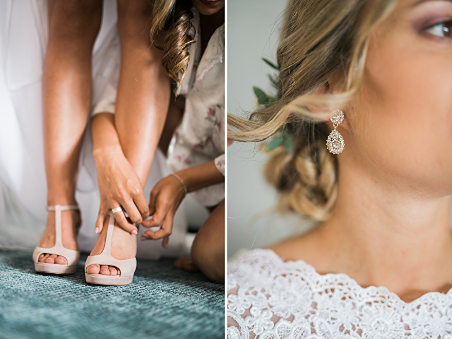 Bride is getting ready for wedding. Photo by Rebecca Wallin