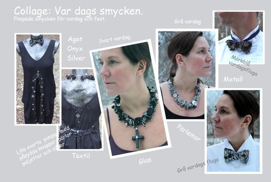 Slow art. Smycken av textil, sötvattenspärlor , silver och halvädelstenar.