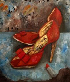 Såld. Red hight heels. Olja, bladguld på duk.