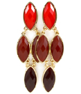 Red Teardrop Earrings / Red