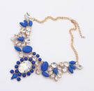 Statement halsband med stenar i blått & kristall