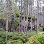 Gruppen till höger står bredvid stenen