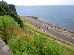 The route follows the popular boardwalk to the town Varberg.