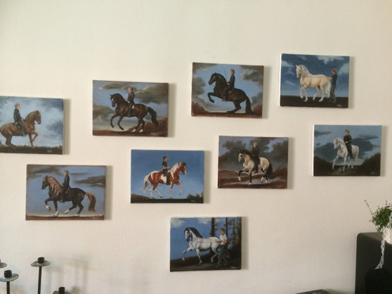 See, Lobelia Barker, have painted all Christofers educated horses in there special movement. Gary, Ikaros,Nicki, Prylen,Fadde,Ixion, Benson, Saxo,Zetor. It was my birthday present to Christofer :-)