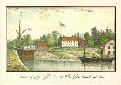 Utsigt af första slussen vid inloppet till Götha Canal vid Mem. Mem tullkammare 1844. Akvarell av Elias Sehlstedt