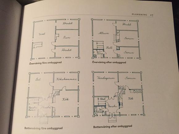 Ur en byggnadsvårdsbok: Hur en artikekr tycker man kan bygga om ett halvkorshus som vårat för att inte förstöra helhetsintrycket. Nja...