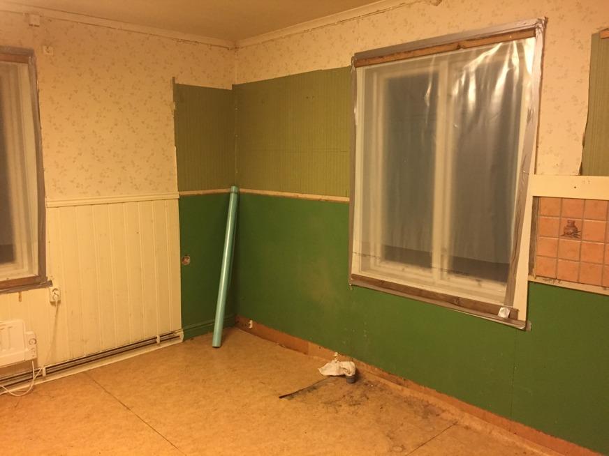 Innan den senaste renoveringen gjordes, var köket väldigt grönt.