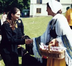"""Agility show with my Doberman """"Cheri"""" for the Queen of Sweden- 1998"""