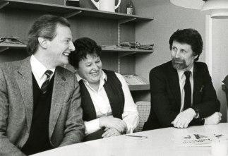 Inga-Britt tillsammans med kollegorna Roland Gröndahl och Sune Ahlén 1984