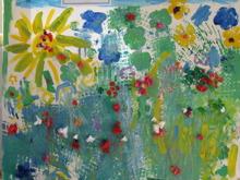 Här målar vuxna och barn tillsammans.
